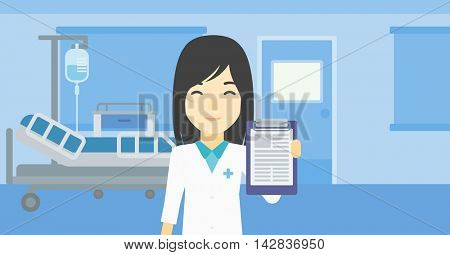 An asian female doctor showing clipboard with prescription. Doctor holding clipboard on the background of hospital room. Vector flat design illustration. Horizontal layout.