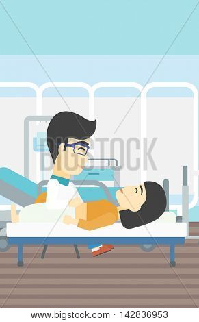 An asian doctor touching abdomen of female patient. Woman on reception at doctor. Vector flat design illustration. Vertical layout.