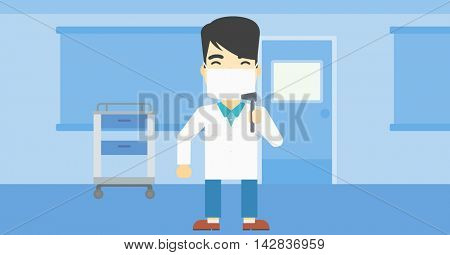 An asian male ear nose throat doctor standing in the medical office. Doctor with tools used for examination of ear, nose, throat. Vector flat design illustration. Horizontal layout.