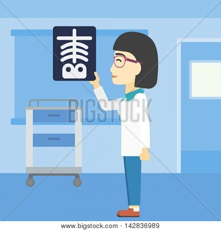 An asian young female doctor examining a radiograph. Doctor looking at a chest radiograph in the medical office. Doctor observing a skeleton radiograph. Vector flat design illustration. Square layout.