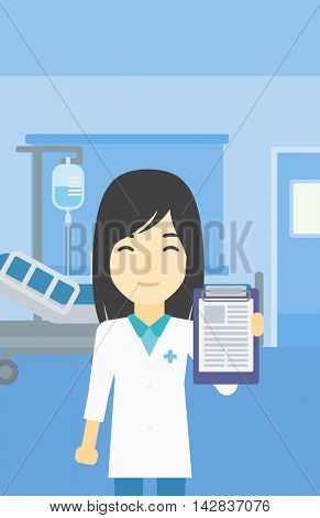 An asian female doctor showing clipboard with prescription. Doctor holding clipboard on the background of hospital room. Vector flat design illustration. Vertical layout.
