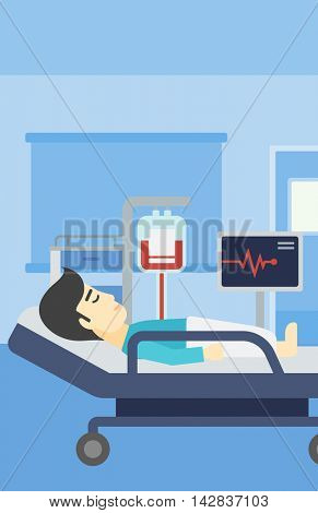 An asian man lying in bed at hospital ward. Patient with heart rate monitor and equipment for blood transfusion in medical room. Vector flat design illustration. Vertical layout.