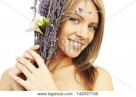 Smiling woman - toothy smile white teeth