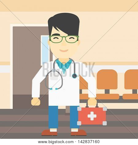 An asian male doctor holding first aid box. Doctor in uniform with first aid kit standing in the hospital corridor. Vector flat design illustration. Square layout.