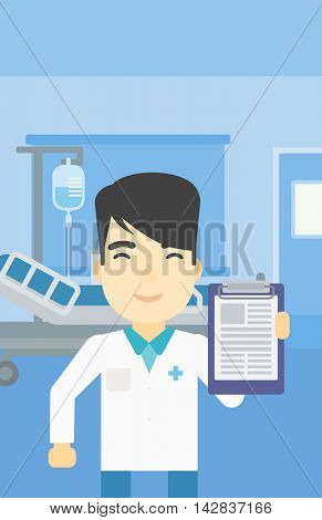 An asian male doctor showing clipboard with prescription. Doctor holding clipboard on the background of hospital room. Vector flat design illustration. Vertical layout.