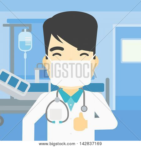 An asian doctor in mask giving thumbs up. Happy doctor with thumbs up in the hospital room. Doctor showing thumbs up gesture. Vector flat design illustration. Square layout.