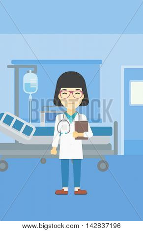 An asian friendly doctor holding a file in hospital ward . Smiling female doctor with stetoscope carrying folder of patient or medical information. Vector flat design illustration. Vertical layout.