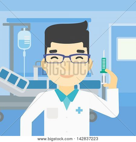 An asian male doctor holding medical injection syringe. Doctor with syringe in hospital ward. Doctor holding a syringe ready for injection. Vector flat design illustration. Square layout.