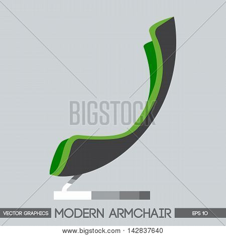 Green and silver modern armchair over light background. Digital vector image