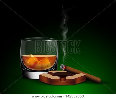Poster with glass of whiskey with ice cubes, ashtray and cigar.