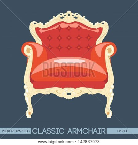 Red and yellow classic armchair over dark background. Digital vector image