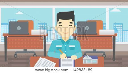 An asian male real estate agent signing a contract. Young real estate agent sitting at workplace in office with a house model on the table. Vector flat design illustration. Horizontal layout.