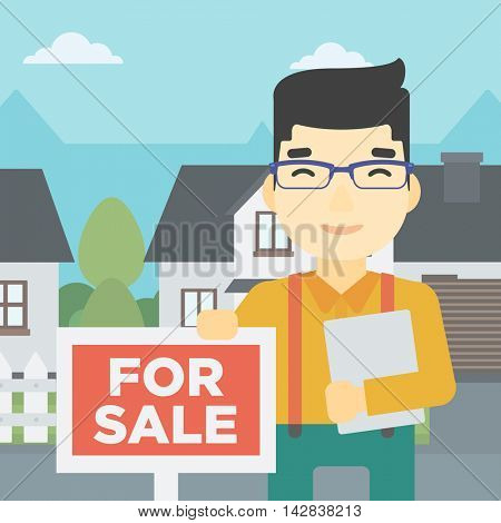 An asian young male real estate agent offering the house. Male broker with placard for sale and documents in hands standing in front of the house. Vector flat design illustration. Square layout.