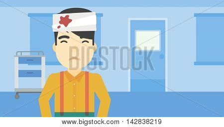 An asian man with bandages over his head. Sad man with a bandaged head in the medical office. Young wounded man in the hospital. Vector flat design illustration. Horizontal layout.