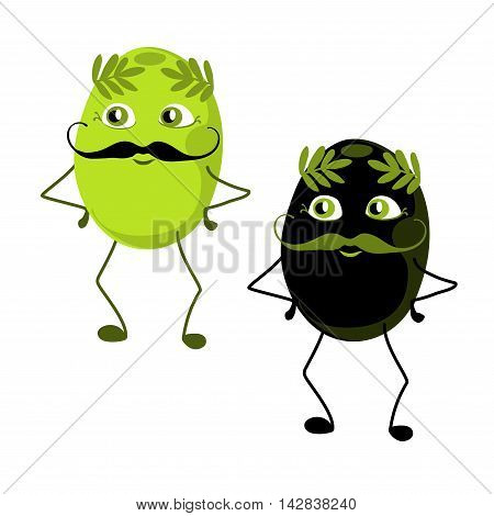 Black and green olives with a mustache. Set of cartoon characters with an olive branch on the head.