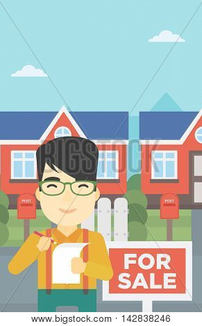An asian young male real estate agent signing contract. Real estate agent standing in front of the house with placard for sale. Vector flat design illustration. Vertical layout.