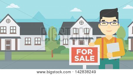An asian young male real estate agent offering the house. Male broker with placard for sale and documents in hands standing in front of the house. Vector flat design illustration. Horizontal layout.
