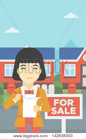 An asian young female real estate agent signing a contract. Young real estate agent standing in front of the house with placard for sale. Vector flat design illustration. Vertical layout.