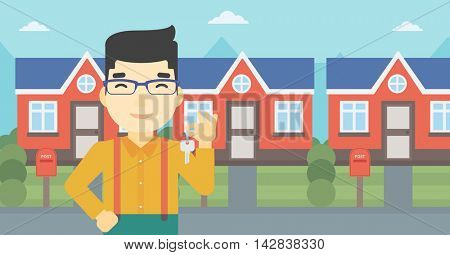 An asian young male real estate agent holding key. Man with keys standing in front of the house. Happy new owner of a house. Vector flat design illustration. Horizontal layout.
