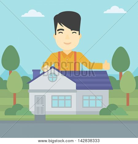An asian young man standing behind the house and showing thumb up. Real estate agent offering the house. Young man giving thumbs up. Vector flat design illustration. Square layout.