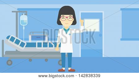 An asian female doctor in medical gown showing finger up. Doctor with finger up in the hospital ward. Woman in doctor uniform pointing finger up. Vector flat design illustration. Horizontal layout.