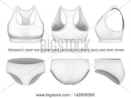 Women sport bra and briefs. Fully editable handmade mesh. Vector illustration.