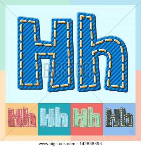 Vector jeans alphabet. Optional colorful graphic styles. Letter H