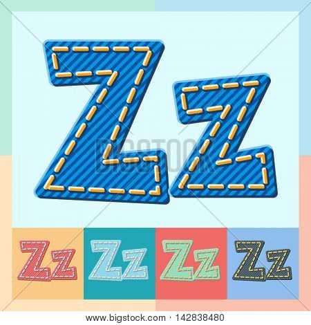 Vector jeans alphabet. Optional colorful graphic styles. Letter Z