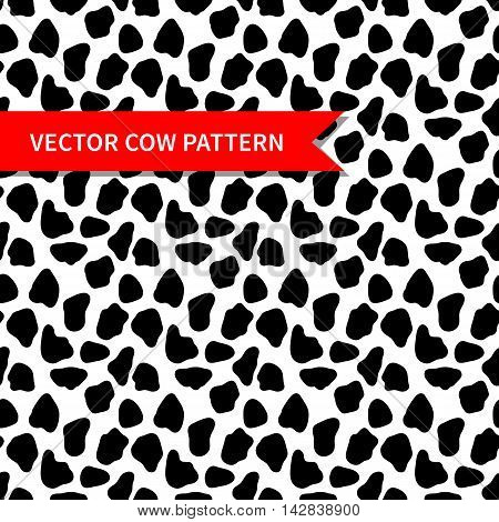 Cow skin vector seamless pattern. Abstract vector pattern with random black spots. Cow pattern for print textile