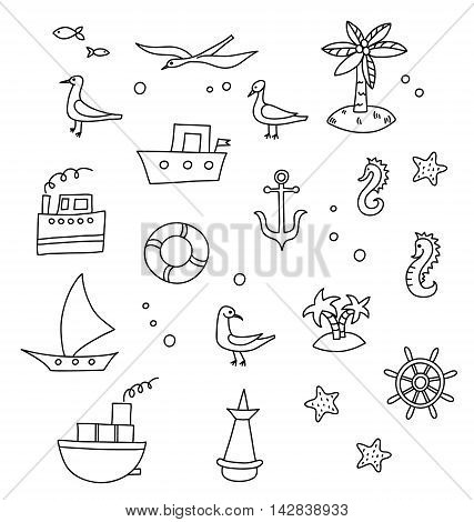 Nautical cartoon set  in vector. Vector nautical cartoon collection of sea icon with ships, palms, seagulls and starfishes.