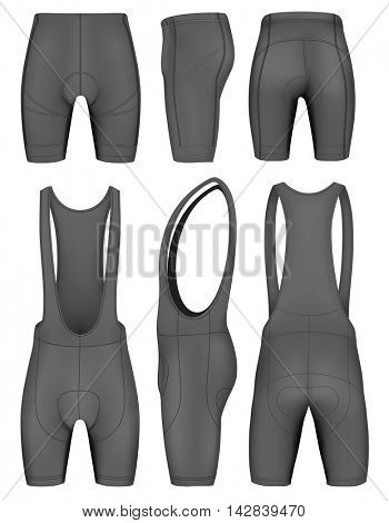 Men's cycling knicks and shorts. Front, back and side views. Fully editable handmade mesh. Vector illustration.