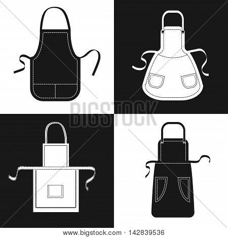 Aprons set. Vector collection of black and white aprons with pockets, shoulder straps and belts.