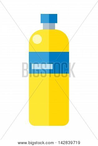 Yellow plastic bottle with blue label. Illustration of bottle of mineral water. Plastic bottle icon. Retail store element. Simple drawing. Isolated vector illustration on white background.