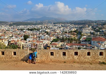 Rethymno city Greece view from Fortezza fortress landmark