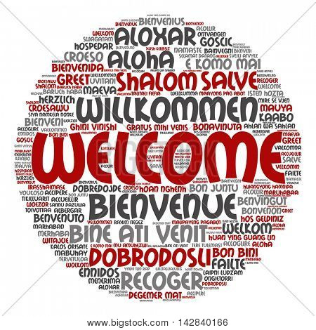 Concept or conceptual abstract round welcome or greeting international word cloud in different languages or multilingual isolated