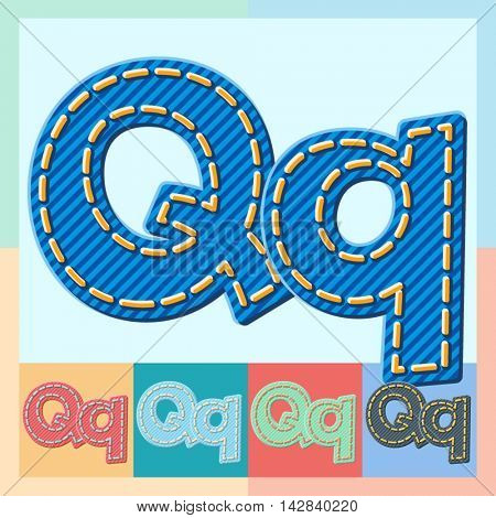 Vector jeans alphabet. Optional colorful graphic styles. Letter Q