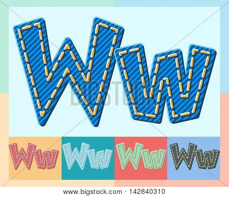 Vector jeans alphabet. Optional colorful graphic styles. Letter W