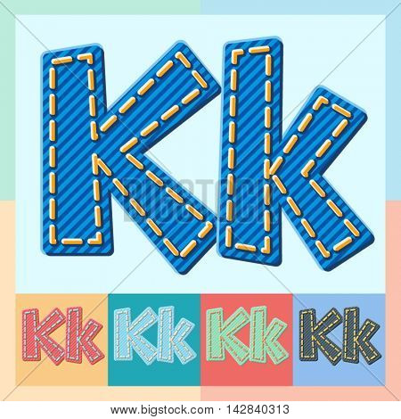 Vector jeans alphabet. Optional colorful graphic styles. Letter K