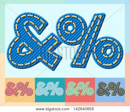 Vector jeans alphabet. Optional colorful graphic styles. Symbols