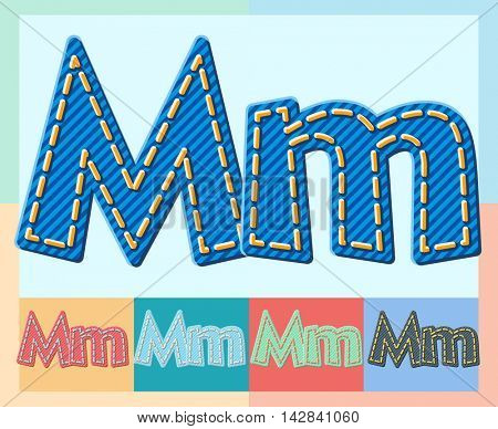 Vector jeans alphabet. Optional colorful graphic styles. Letter M