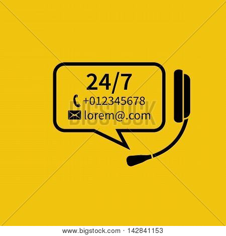 Customer service concept. Headphones with microphone bubble for text. Technical support online call center. Abstract background vector illustration. Template for helpline support service.