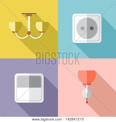 Furniture set with power outlet in outlines. Digital vector image