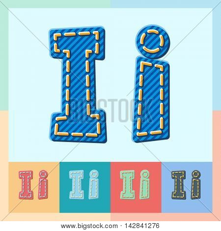 Vector jeans alphabet. Optional colorful graphic styles. Letter I
