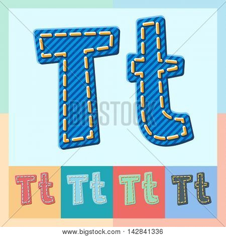 Vector jeans alphabet. Optional colorful graphic styles. Letter T