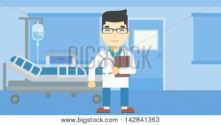 An asian friendly doctor holding a file in hospital ward . Smiling doctor with stetoscope carrying folder of patient or medical information. Vector flat design illustration. Horizontal layout.