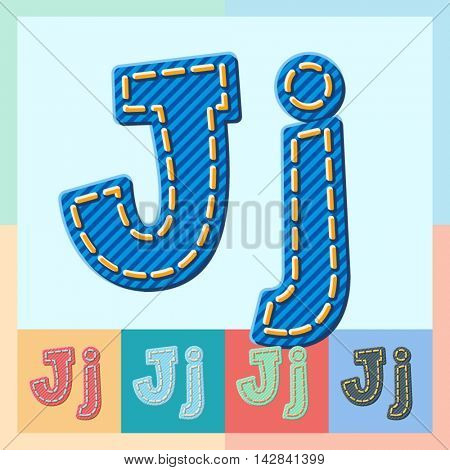 Vector jeans alphabet. Optional colorful graphic styles. Letter J