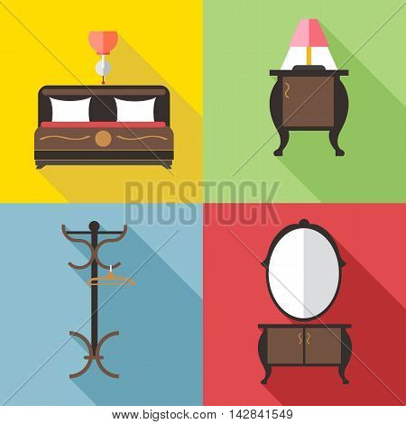 Furniture set with mirror in outlines. Digital vector image