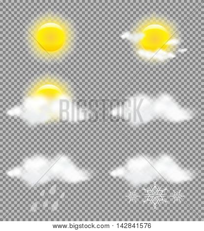 Realistic transparency sun and clouds in weather icons set for business presentations tv forecast print and web designs. Vector Illustration
