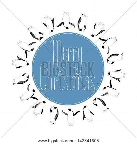 Merry Christmas vector seasonal design element with polar bear penguin glass of champagne. Round shaped illustration for sticker decoration banner. Merry Christmas cute hand drawn lettering