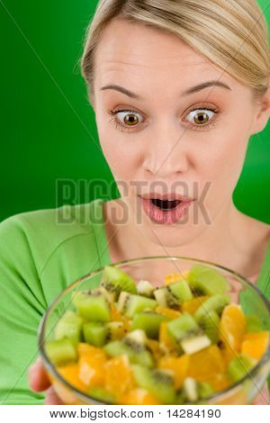 Healthy Lifestyle - Woman Holding Fruit Salad Bowl